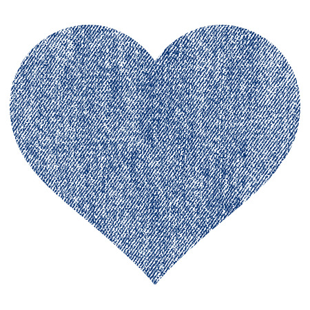 Love Heart vector textured icon for overlay watermark stamps. Blue jeans fabric vectorized texture. Symbol with scratched design. Blue ink rubber seal stamp with fiber textile structure.