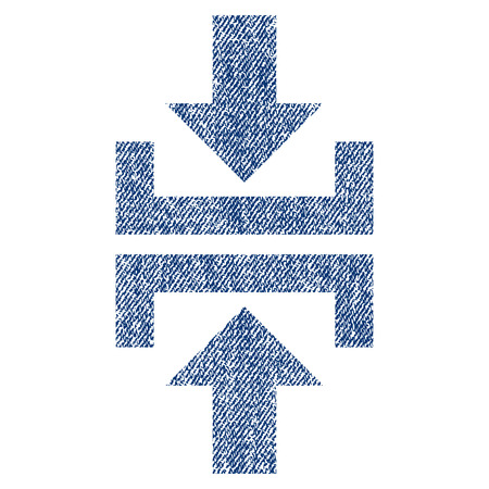 minimize: Press Vertical Direction vector textured icon for overlay watermark stamps. Blue jeans fabric vectorized texture. Symbol with scratched design. Blue ink rubber seal stamp with fiber textile structure.