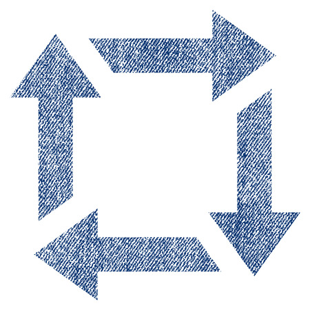 utilization: Recycle vector textured icon for overlay watermark stamps. Blue jeans fabric vectorized texture. Symbol with dust design. Blue ink rubber seal stamp with fiber textile structure. Illustration