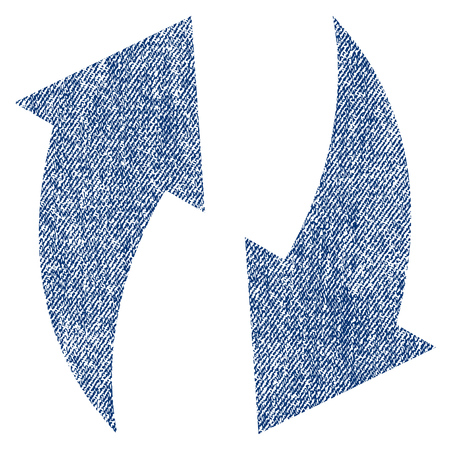 Refresh vector textured icon for overlay watermark stamps. Blue jeans fabric vectorized texture. Symbol with unclean design. Blue ink rubber seal stamp with fiber textile structure. Illustration