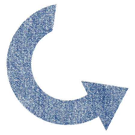 Rotate CCW vector textured icon for overlay watermark stamps. Blue jeans fabric vectorized texture. Symbol with scratched design. Blue ink rubber seal stamp with fiber textile structure. Illustration