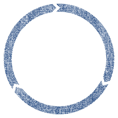 Rotation vector textured icon for overlay watermark stamps. Blue jeans fabric vectorized texture. Symbol with dirty design. Blue ink rubber seal stamp with fiber textile structure.