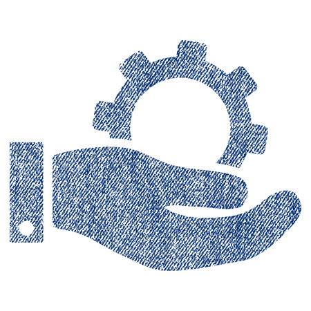 Service vector textured icon for overlay watermark stamps. Blue jeans fabric vectorized texture. Symbol with dust design. Blue ink rubber seal stamp with fiber textile structure.