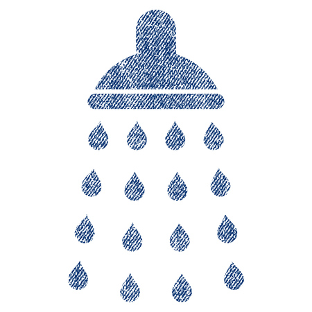 desinfectante: Shower vector textured icon for overlay watermark stamps. Blue jeans fabric vectorized texture. Symbol with dirty design. Blue ink rubber seal stamp with fiber textile structure.