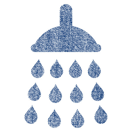 source d eau: Shower vector textured icon for overlay watermark stamps. Blue jeans fabric vectorized texture. Symbol with unclean design. Blue ink rubber seal stamp with fiber textile structure.