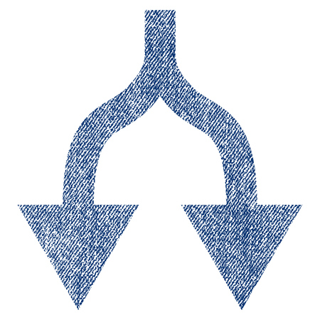 bifurcation: Split Arrows Down vector textured icon for overlay watermark stamps. Blue jeans fabric vectorized texture. Symbol with unclean design. Blue ink rubber seal stamp with fiber textile structure. Illustration