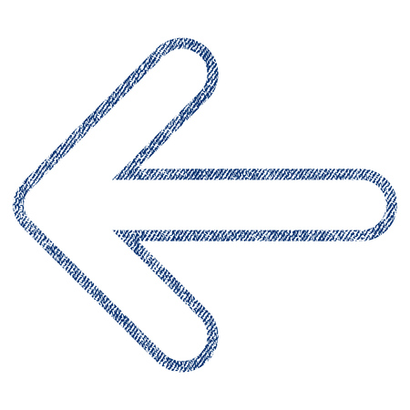 before: Rounded Arrow Left vector textured icon for overlay watermark stamps. Blue jeans fabric vectorized texture. Symbol with unclean design. Blue ink rubber seal stamp with fiber textile structure.