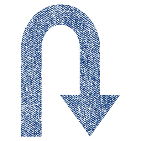 Turn Back vector textured icon for overlay watermark stamps. Blue jeans fabric vectorized texture. Symbol with scratched design. Blue ink rubber seal stamp with fiber textile structure. Illustration