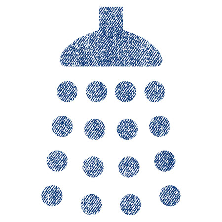 Shower vector textured icon for overlay watermark stamps. Blue jeans fabric vectorized texture. Symbol with scratched design. Blue ink rubber seal stamp with fiber textile structure.
