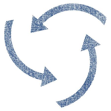 cíclico: Remolino flechas vector textura icono de sellos de marca de agua de recubrimiento. Tela azul jeans textura vectorizada. Símbolo con diseño de polvo. Sello de goma de tinta azul con estructura textil de fibra.