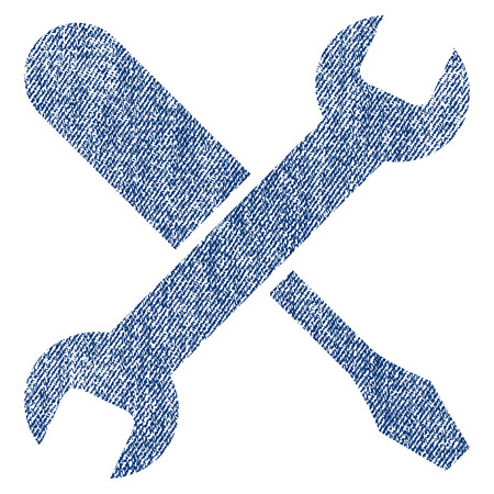 adjustment: Tuning vector textured icon for overlay watermark stamps. Blue jeans fabric vectorized texture. Symbol with dirty design. Blue ink rubber seal stamp with fiber textile structure.