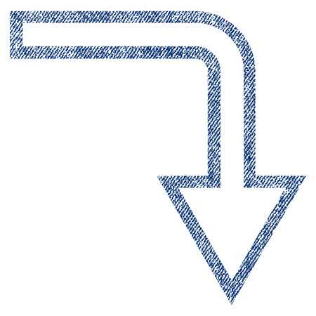 Turn Down vector textured icon for overlay watermark stamps. Blue jeans fabric vectorized texture. Symbol with unclean design. Blue ink rubber seal stamp with fiber textile structure. Illustration