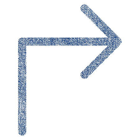 Turn Right vector textured icon for overlay watermark stamps. Blue jeans fabric vectorized texture. Symbol with unclean design. Blue ink rubber seal stamp with fiber textile structure. Illustration