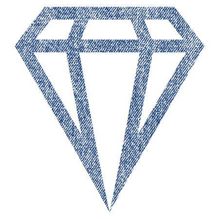 ruby: Gem vector textured icon for overlay watermark stamps. Blue jeans fabric vectorized texture. Symbol with dirty design. Blue ink rubber seal stamp with fiber textile structure. Illustration