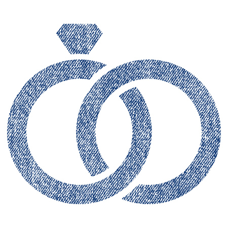 ruby: Gem Rings vector textured icon for overlay watermark stamps. Blue jeans fabric vectorized texture. Symbol with dirty design. Blue ink rubber seal stamp with fiber textile structure.