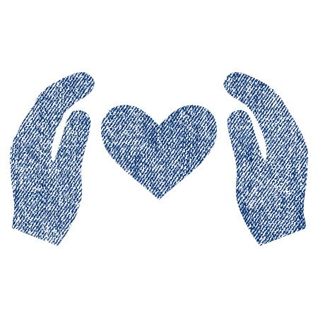 Liebe Pflege Hände Vektor texturierte Ikone für Overlay Wasserzeichen Briefmarken. Blue Jeans Stoff vektorisierte Textur. Symbol mit Staub Design. Blaue Tinte Gummi-Stempel mit Faser Textil-Struktur.