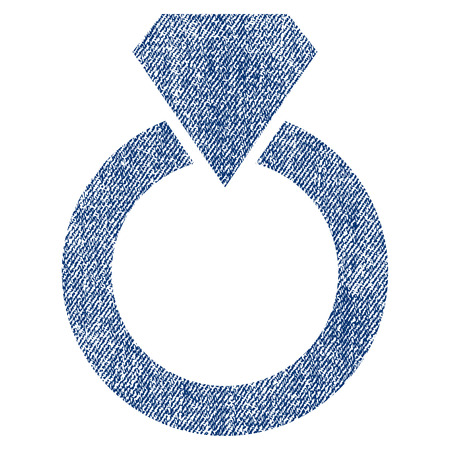 ruby: Diamond Ring vector textured icon for overlay watermark stamps. Blue jeans fabric vectorized texture. Symbol with dirty design. Blue ink rubber seal stamp with fiber textile structure.