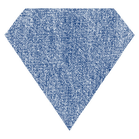 ruby: Diamond vector textured icon for overlay watermark stamps. Blue jeans fabric vectorized texture. Symbol with dust design. Blue ink rubber seal stamp with fiber textile structure. Illustration