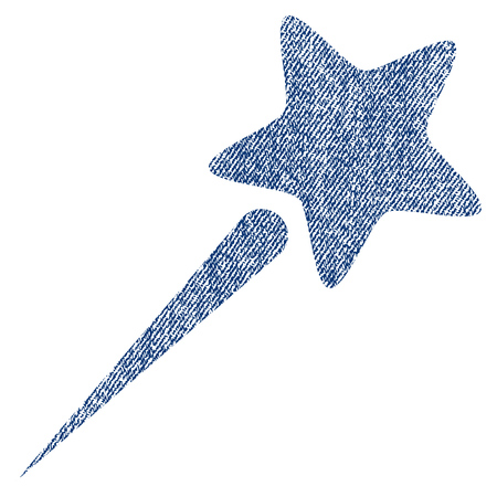 Flying Star vector textured icon for overlay watermark stamps. Blue jeans fabric vectorized texture. Symbol with scratched design. Blue ink rubber seal stamp with fiber textile structure.