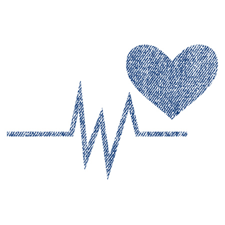 Heart Pulse Signal vector textured icon for overlay watermark stamps. Blue jeans fabric vectorized texture. Symbol with dust design. Blue ink rubber seal stamp with fiber textile structure. Illustration