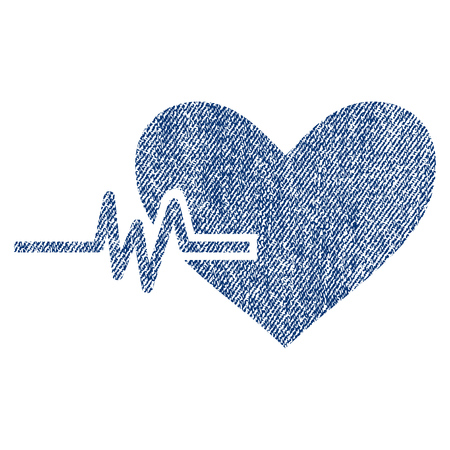Heart Pulse vector textured icon for overlay watermark stamps. Blue jeans fabric vectorized texture. Symbol with scratched design. Blue ink rubber seal stamp with fiber textile structure.