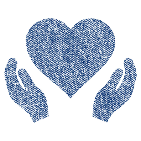 Love Care Hands vector textured icon for overlay watermark stamps. Blue jeans fabric vectorized texture. Symbol with scratched design. Blue ink rubber seal stamp with fiber textile structure.