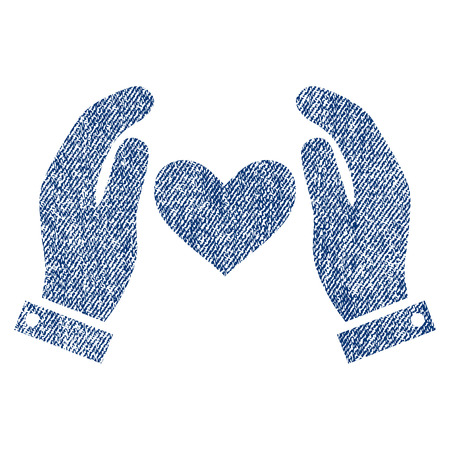 Love Heart Care Hands vector textured icon for overlay watermark stamps. Blue jeans fabric vectorized texture. Symbol with scratched design. Blue ink rubber seal stamp with fiber textile structure. Illustration