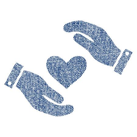 Liebes-Herz-Sorgfalt-Hände vector strukturierte Ikone für Überlagerungswasserzeichenstempel. Vektorisierte Beschaffenheit des Blue Jeans-Gewebes. Symbol mit Staub Design. Stempelgummi der blauen Tintengummidichtung mit Fasertextilstruktur.