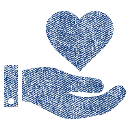 Love Heart Offer Hand vector textured icon for overlay watermark stamps. Blue jeans fabric vectorized texture. Symbol with dirty design. Blue ink rubber seal stamp with fiber textile structure.