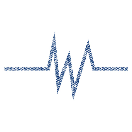 Pulse Signal vector textured icon for overlay watermark stamps. Blue jeans fabric vectorized texture. Symbol with dirty design. Blue ink rubber seal stamp with fiber textile structure.