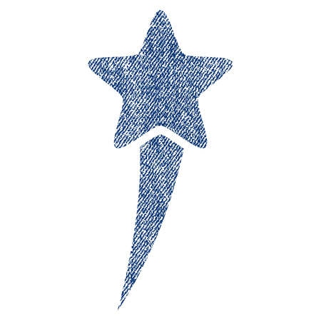 Starting Star vector textured icon for overlay watermark stamps. Blue jeans fabric vectorized texture. Symbol with unclean design. Blue ink rubber seal stamp with fiber textile structure. Illustration