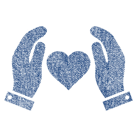 Love Care Hands vector textured icon for overlay watermark stamps. Blue jeans fabric vectorized texture. Symbol with dirty design. Blue ink rubber seal stamp with fiber textile structure. Illustration