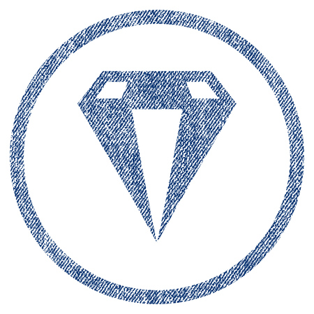ruby: Diamond textured icon for overlay watermark stamps. Blue jeans fabric vectorized texture. Rounded flat vector symbol with scratched design.