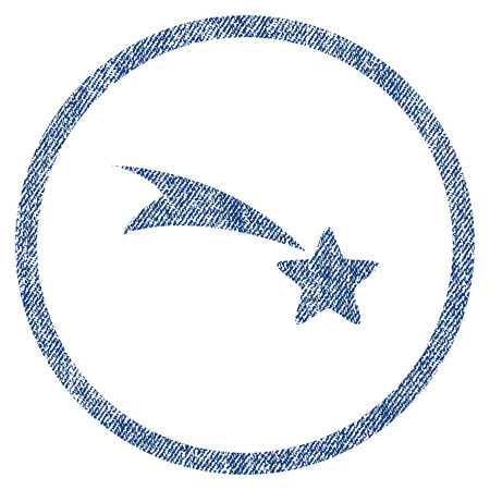 gift accident: Falling Star textured icon for overlay watermark stamps. Blue jeans fabric vectorized texture. Rounded flat vector symbol with unclean design.