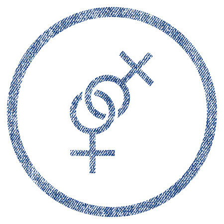 Lesbian Love Symbol textured icon for overlay watermark stamps. Blue jeans fabric vectorized texture.