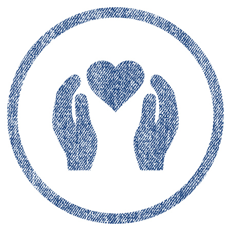 Love Care Hands textured icon for overlay watermark stamps. Blue jeans fabric vectorized texture. Rounded flat vector symbol with scratched design.