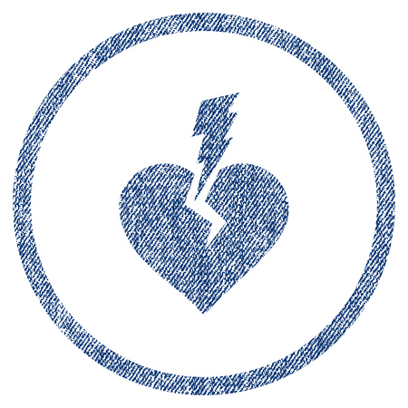 heartbreak issues: Love Heart Crash textured icon for overlay watermark stamps. Blue jeans fabric vectorized texture. Rounded flat vector symbol with unclean design.
