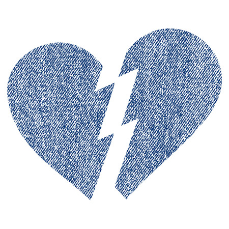 Broken Heart raster textured icon for overlay watermark stamps. Blue jeans fabric rasterized texture. Symbol with unclean design. Blue ink rubber seal stamp with fiber textile structure.