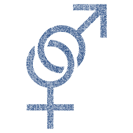 raster sex: Sex Symbol raster textured icon for overlay watermark stamps. Blue jeans fabric rasterized texture. Symbol with dirty design. Blue ink rubber seal stamp with fiber textile structure.