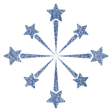 christmas cracker: Star Burst Fireworks raster textured icon for overlay watermark stamps. Blue jeans fabric rasterized texture. Symbol with dirty design. Blue ink rubber seal stamp with fiber textile structure. Stock Photo