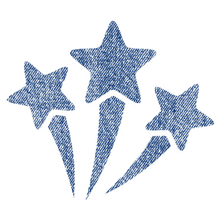 Star Fireworks raster textured icon for overlay watermark stamps. Blue jeans fabric rasterized texture. Symbol with unclean design. Blue ink rubber seal stamp with fiber textile structure.