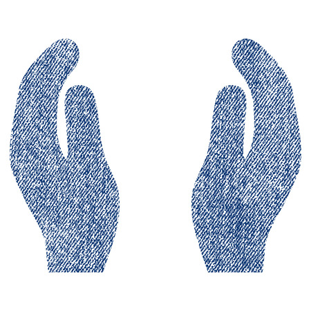 Applause Hands raster textured icon for overlay watermark stamps. Blue jeans fabric rasterized texture. Symbol with dirty design. Blue ink rubber seal stamp with fiber textile structure.