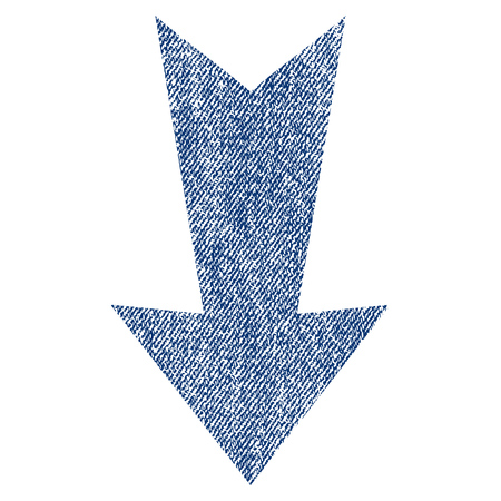Arrow Down raster textured icon for overlay watermark stamps. Blue jeans fabric rasterized texture. Symbol with scratched design. Blue ink rubber seal stamp with fiber textile structure. Stock Photo