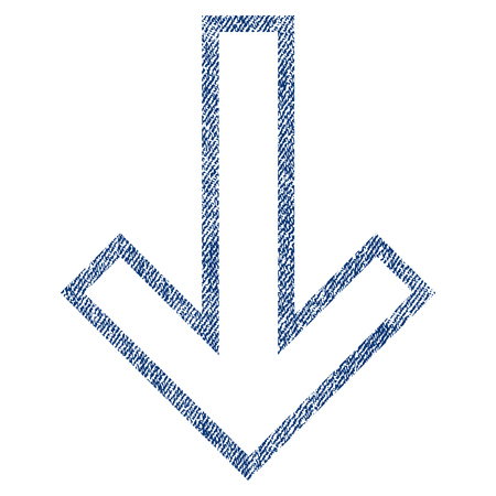 Arrow Down raster textured icon for overlay watermark stamps. Blue jeans fabric rasterized texture. Symbol with unclean design. Blue ink rubber seal stamp with fiber textile structure. Stock Photo