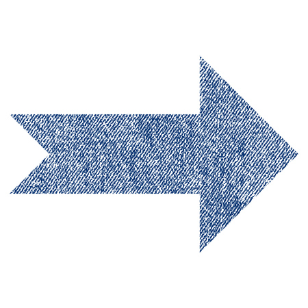Arrow Right raster textured icon for overlay watermark stamps. Blue jeans fabric rasterized texture. Symbol with scratched design. Blue ink rubber seal stamp with fiber textile structure.