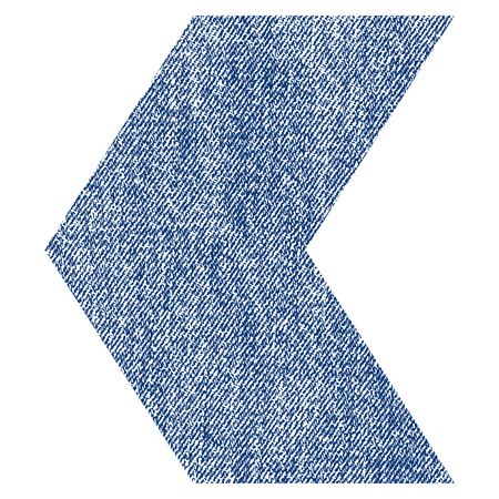 Direction Left raster textured icon for overlay watermark stamps. Blue jeans fabric rasterized texture. Symbol with scratched design. Blue ink rubber seal stamp with fiber textile structure.