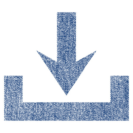 Downloads raster textured icon for overlay watermark stamps. Blue jeans fabric rasterized texture. Symbol with scratched design. Blue ink rubber seal stamp with fiber textile structure.