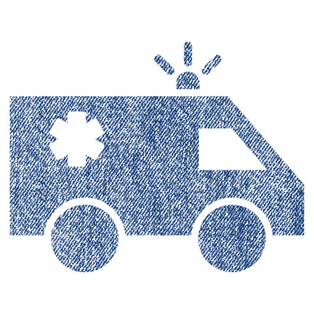 Emergency Car raster textured icon for overlay watermark stamps. Blue jeans fabric rasterized texture. Symbol with unclean design. Blue ink rubber seal stamp with fiber textile structure.