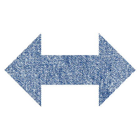 Horizontal Exchange Arrows raster textured icon for overlay watermark stamps. Blue jeans fabric rasterized texture. Symbol with unclean design. Blue ink rubber seal stamp with fiber textile structure. Stock Photo