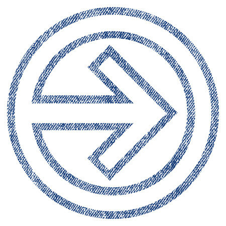 Import raster textured icon for overlay watermark stamps. Blue jeans fabric rasterized texture. Symbol with dust design. Blue ink rubber seal stamp with fiber textile structure.